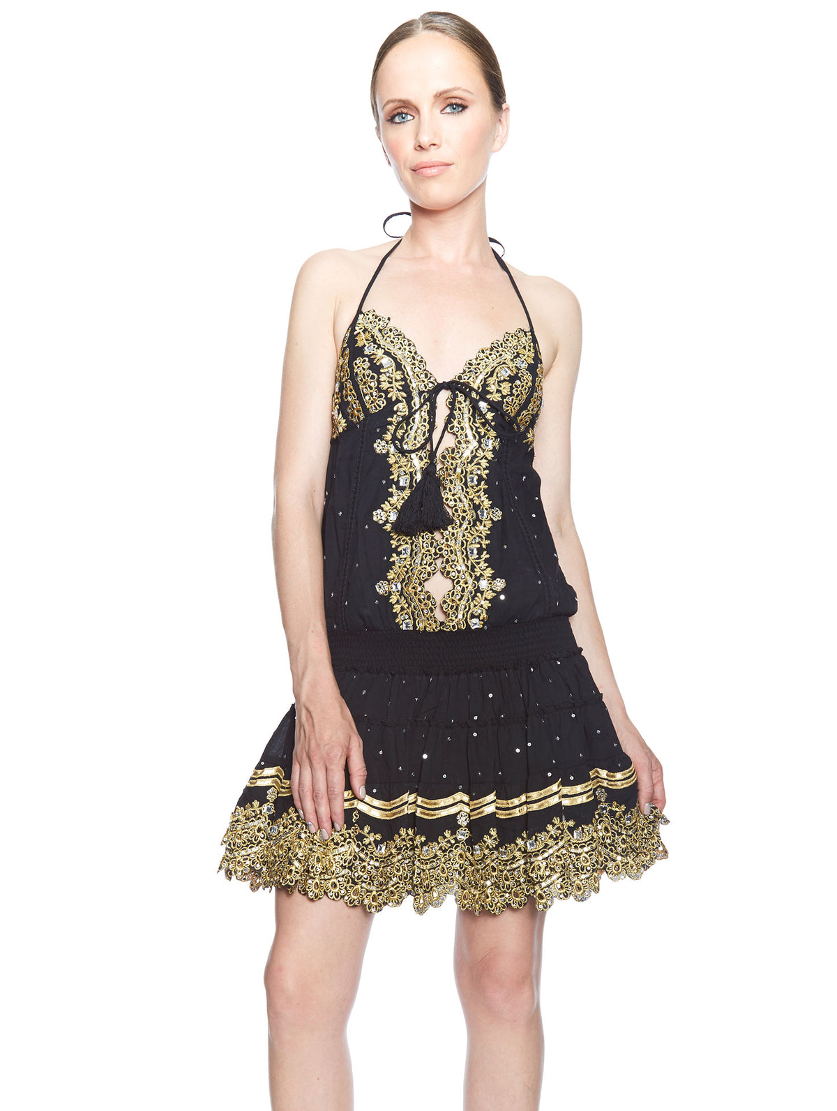 Salinas Dress Black & Gold Halter Dress