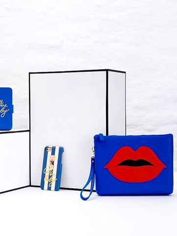 BLUE COSMETIC POUCH RED PATCH LIPS - shop amla