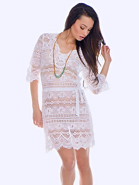 Temptation Positano White Palmi Dress - AMLA