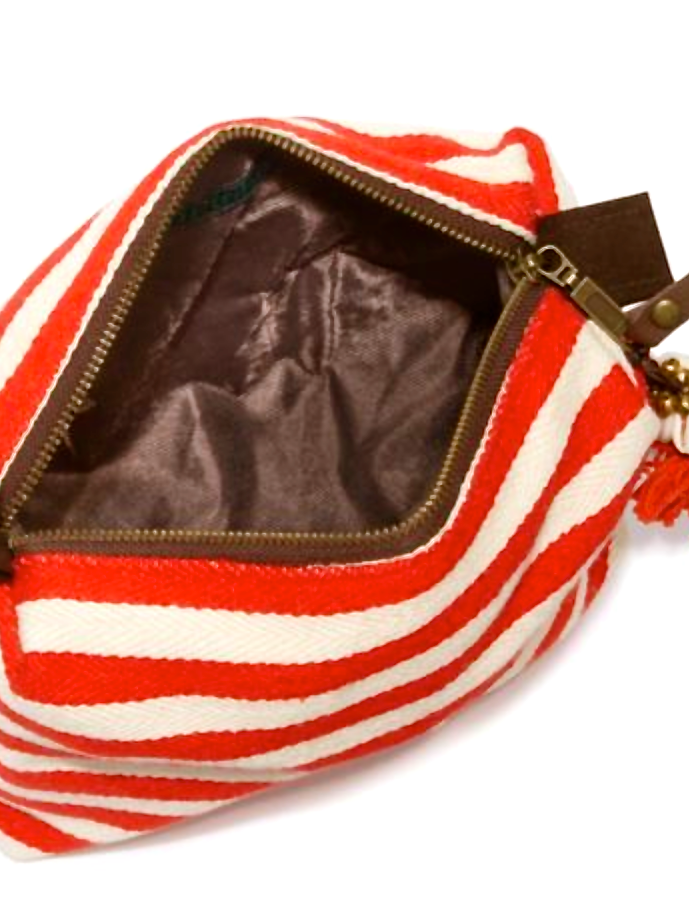 Valerie Red Stripe Puka Shell Cosmetic Bag- amla