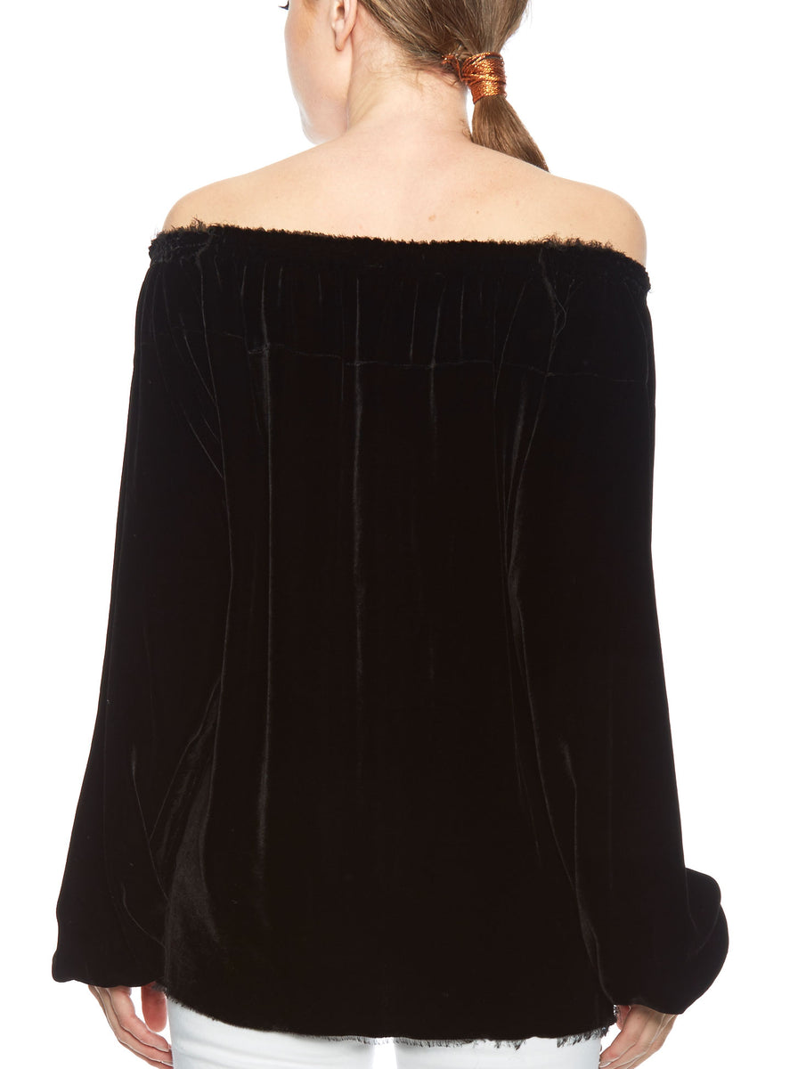 Velvet Blouse Off-the-shoulder