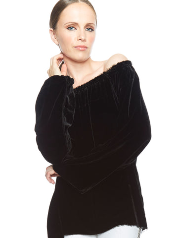 Black Velvet Exposed Shoulder Peasant Blouse