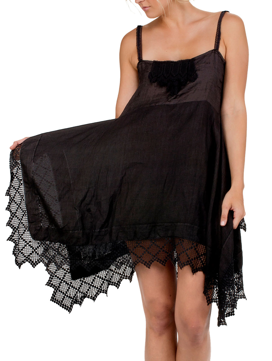 Place Nationale Skinny Strap Crochet Mini Dress - Black