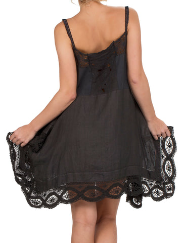 Place Nationale Skinny Strap Lace Mini Dress - Black - AMLA