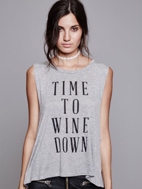 Daydreamer Wine Down Grey Sassy Tank