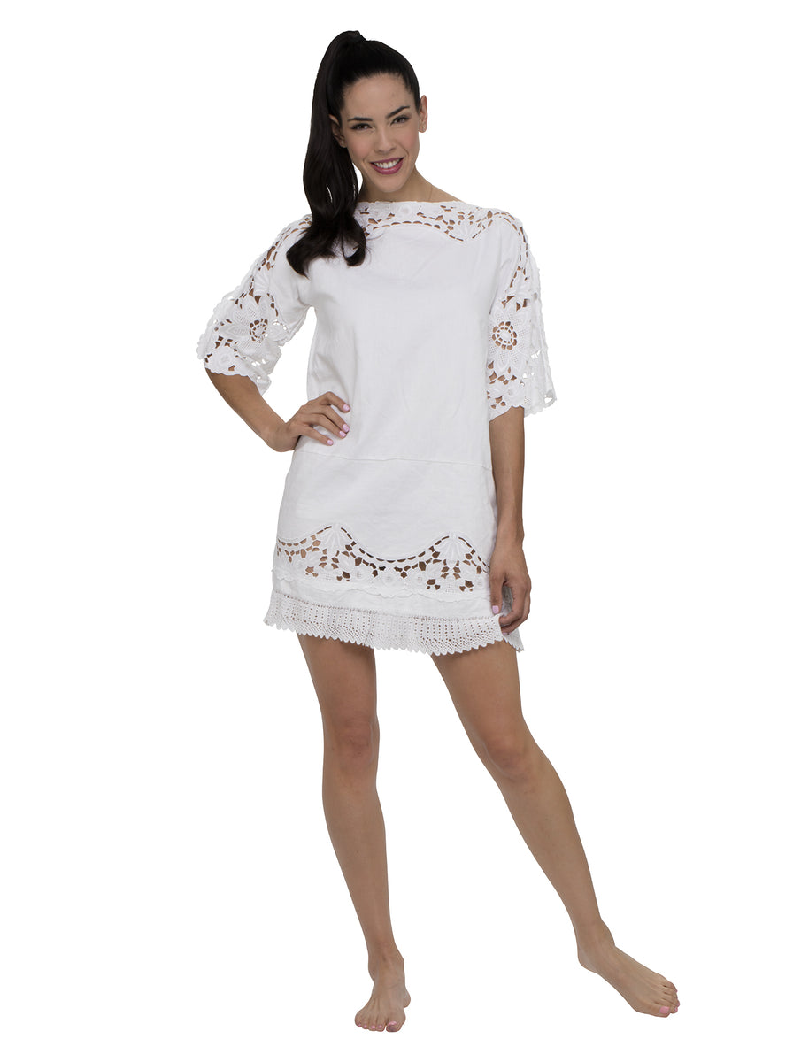 Denia Sleeved Kaftan Burn Out Lace Mini Dress
