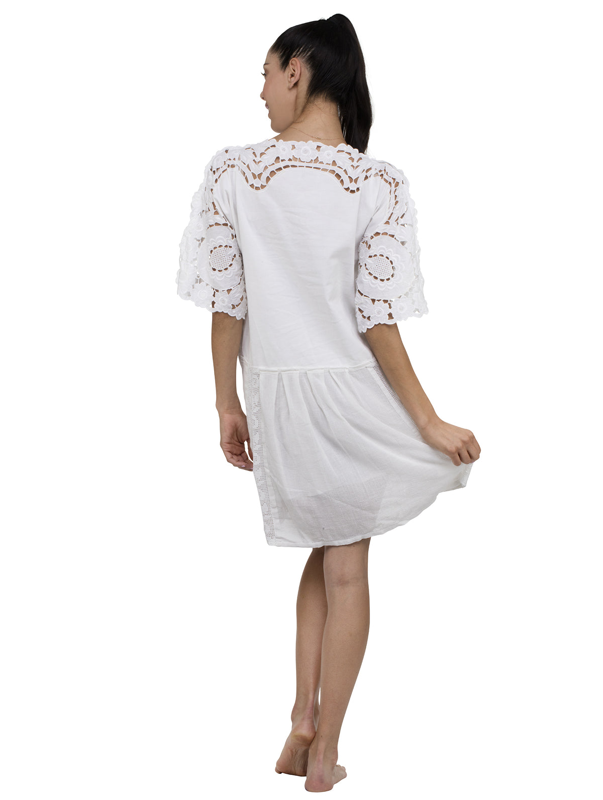Denia Sleeved Kaftan Pleaded Lace Mini Dress