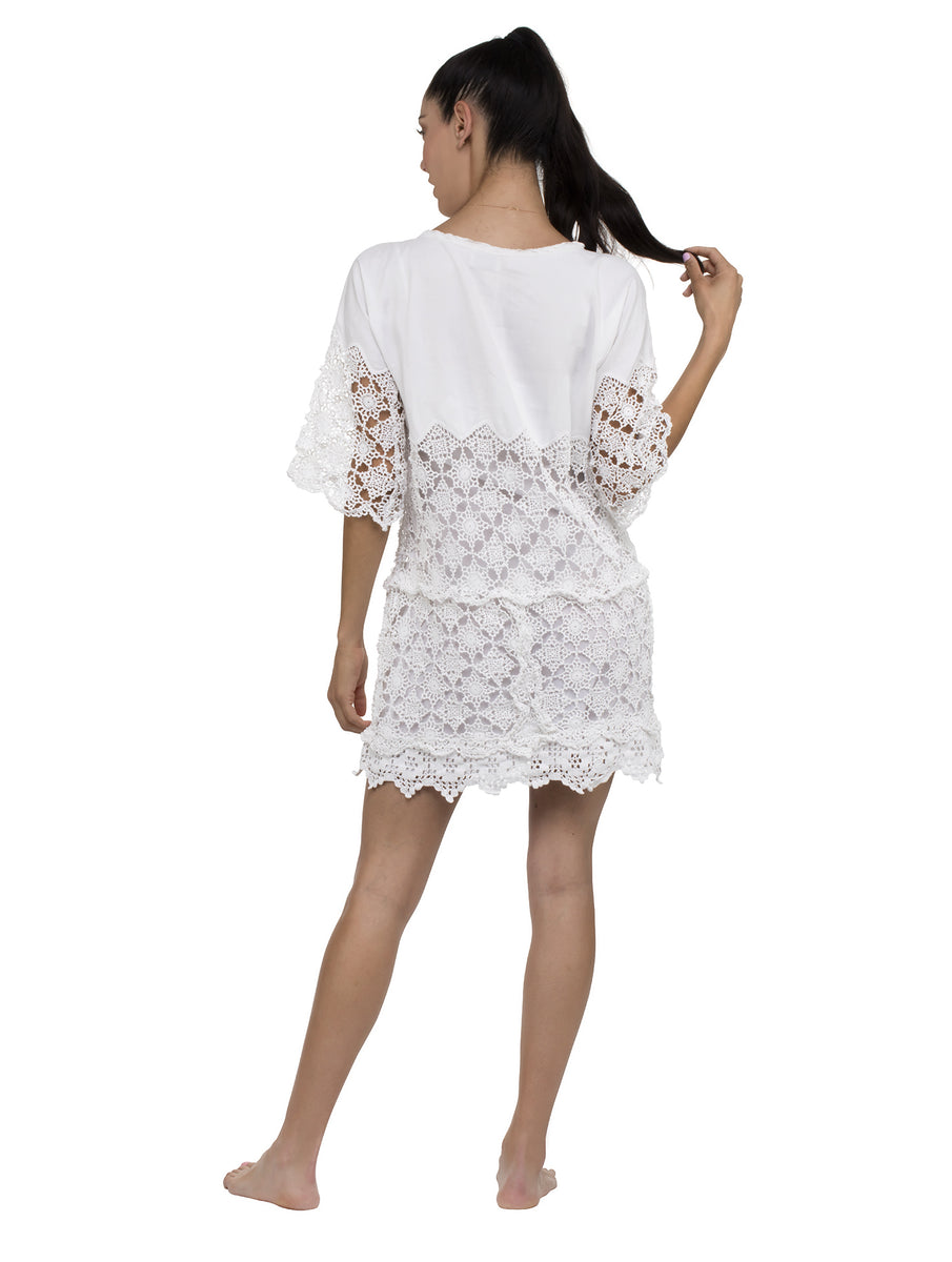 Denia Sleeved Kaftan Crochet Lace Mini Dress