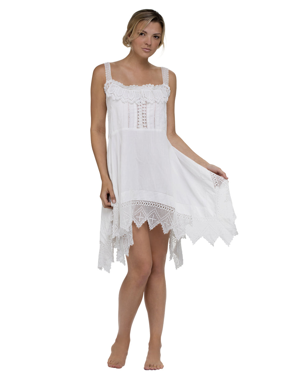 Skinny Strap Lace Mini Dress - White