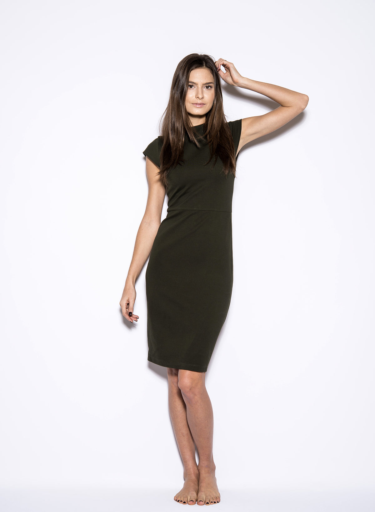 Cap Sleeve Midi Dress Olive