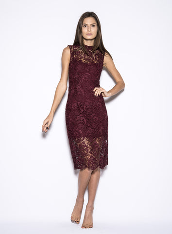 Lace Turtleneck Sleeveless Dress Wine - Blaque Label