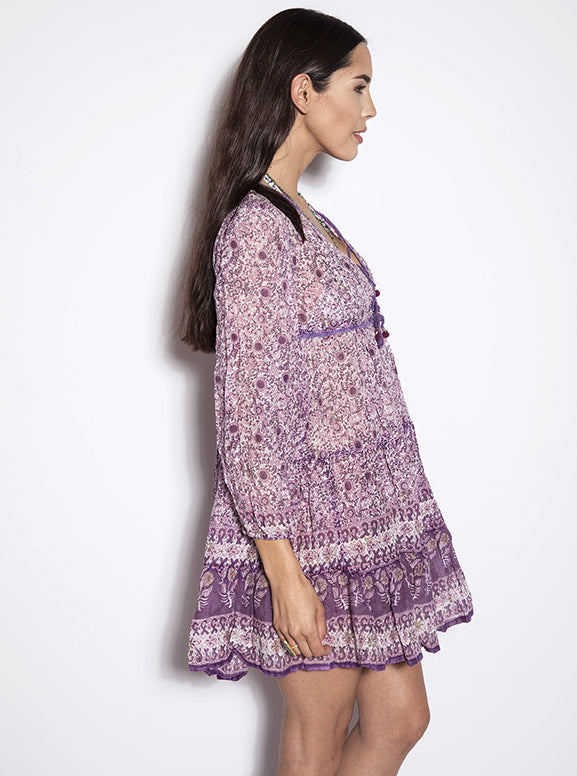 Blue Hippie BOHO CHIC Floral Purple Dress