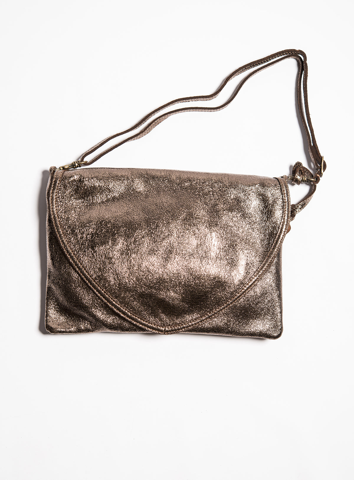 Bronze Leather Envelope Handbag