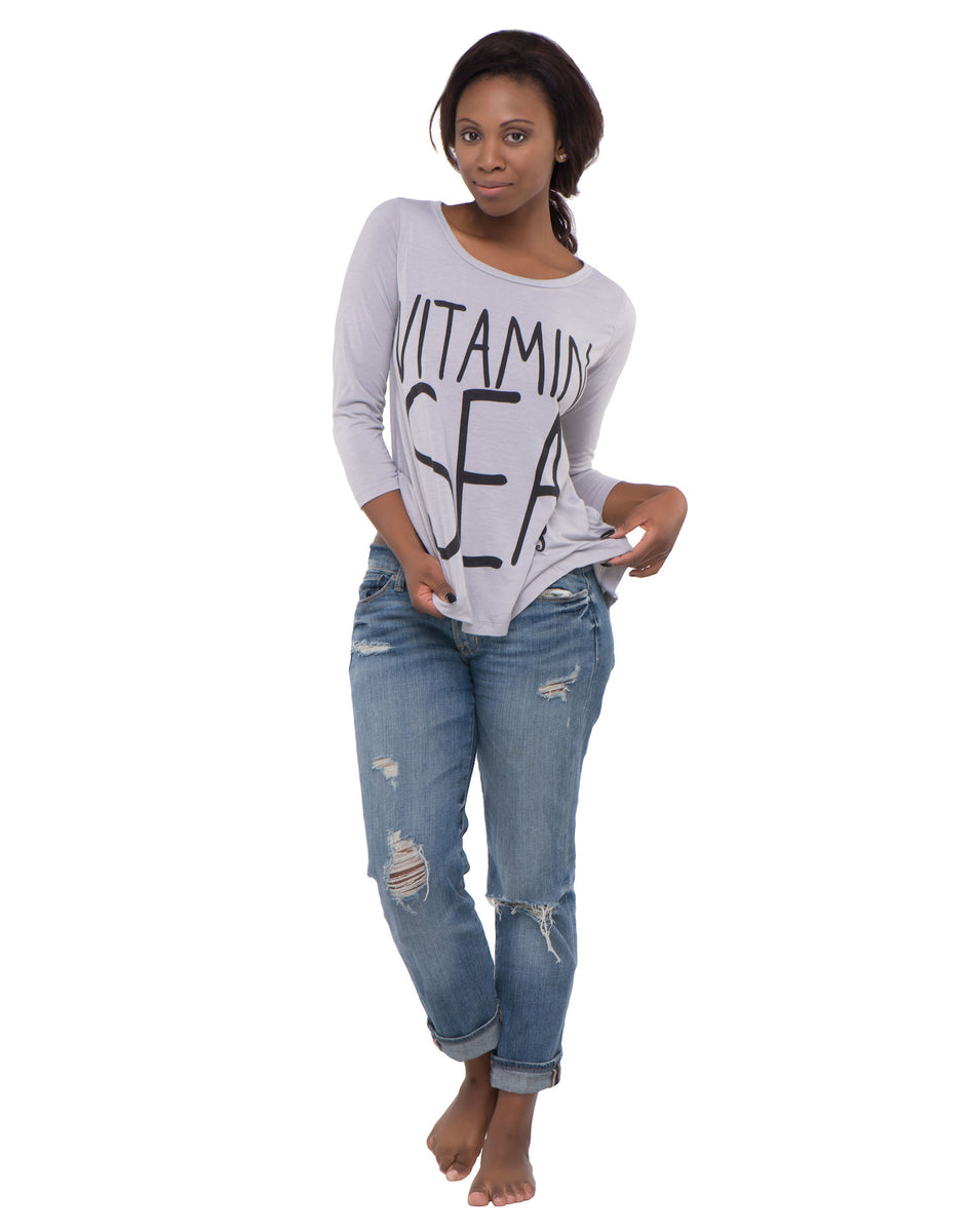 Vitamin Sea Long Sleeve Gray Top