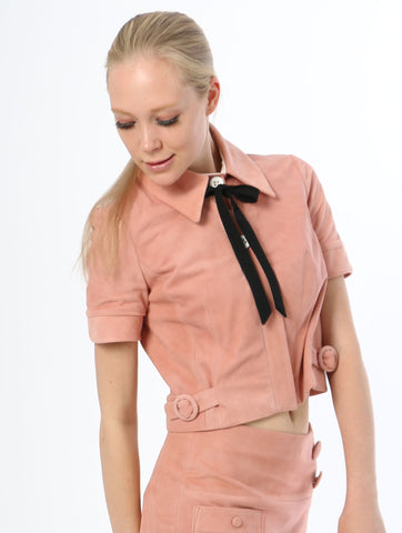 Suede Collared Crop Top - Pink