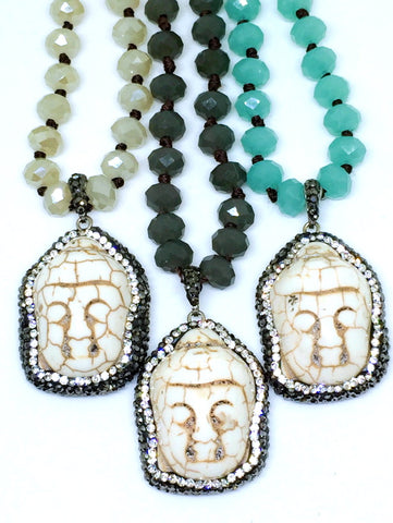Tibetan Mint Turquoise Buddha Necklace