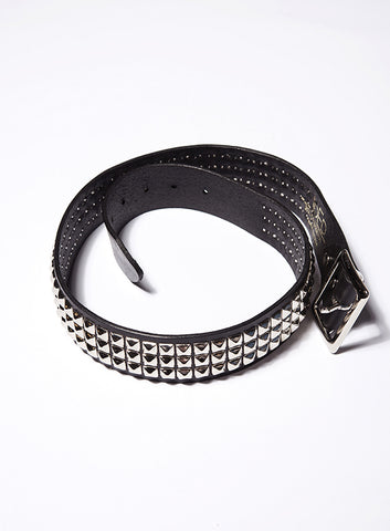 Pyramid Black Studded Leather Belt - Joe's
