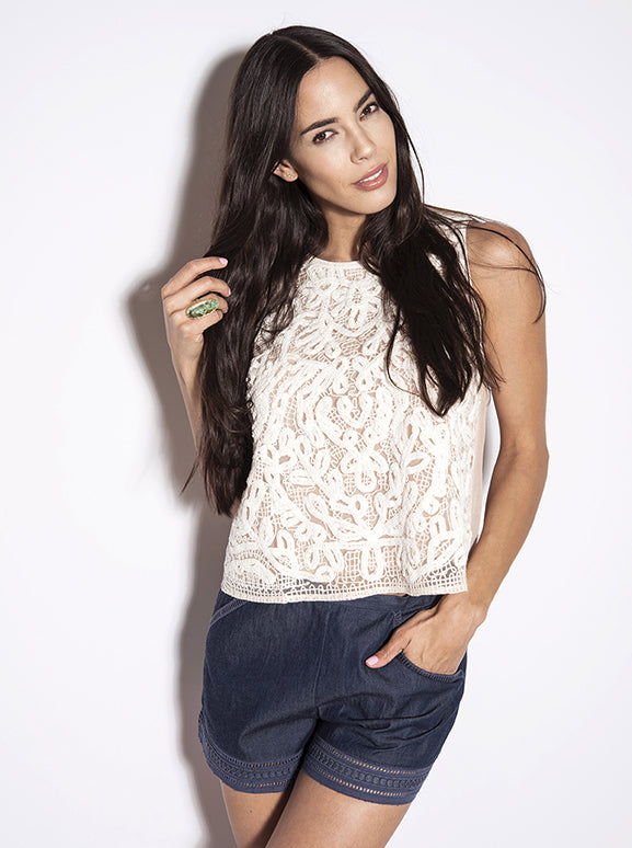 Love Sam Maddie Sleeveless Macrame Top
