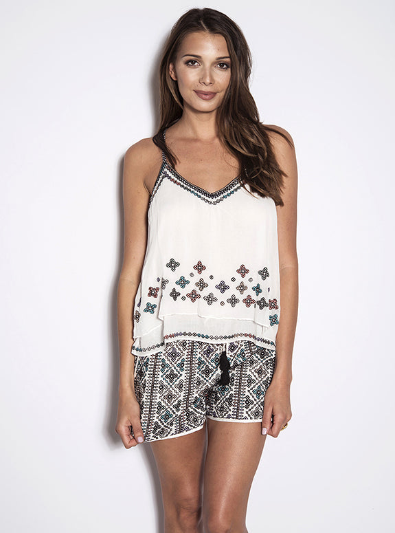 Love Sam White Savannah Embroidered Tank