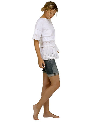 Smock Kaftan Parisian White Top- Place Nationale