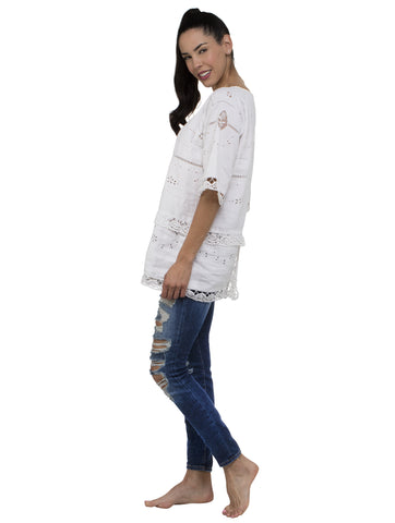 Smock Long Kaftan Top - White