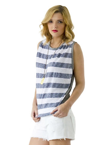 Rugby Stripe Tank With Pleats - Gray - Stateside-shopaml