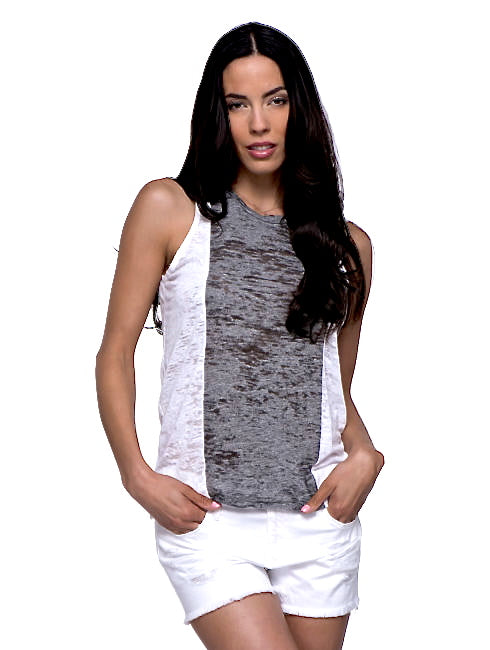 Burnout White Gray Pocket Crew Tank