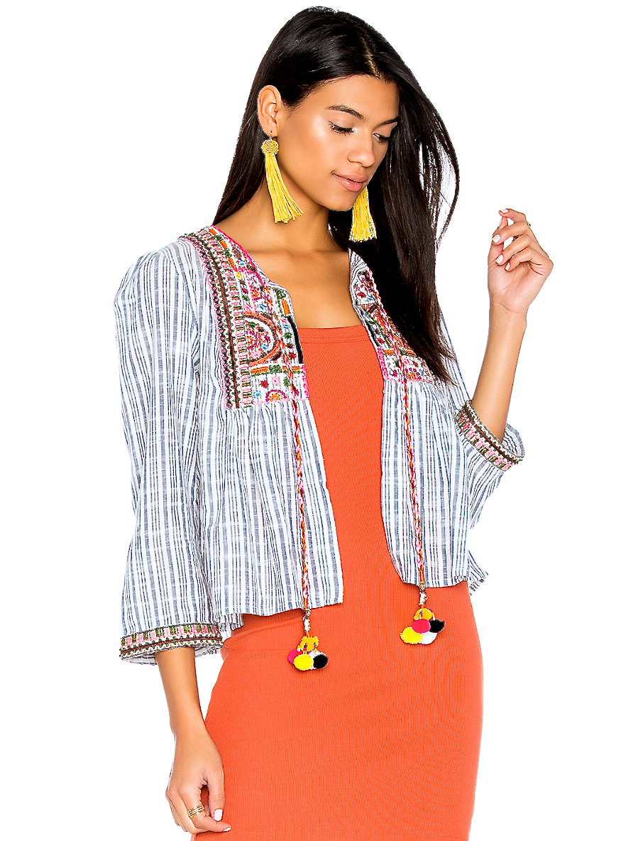 IBIZA STRIPED MULTI TASSEL TOP