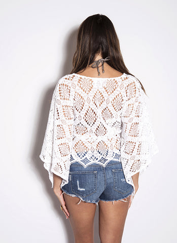 Temptation Positano White Crochet Corona Kaftan Top