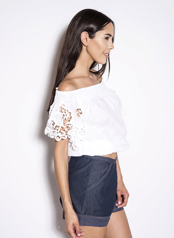 Temptation Positano White Capoterra Embroidered Blouse