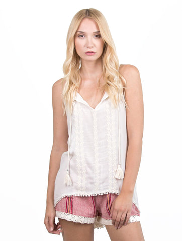 ivory embroidered sheer tank top