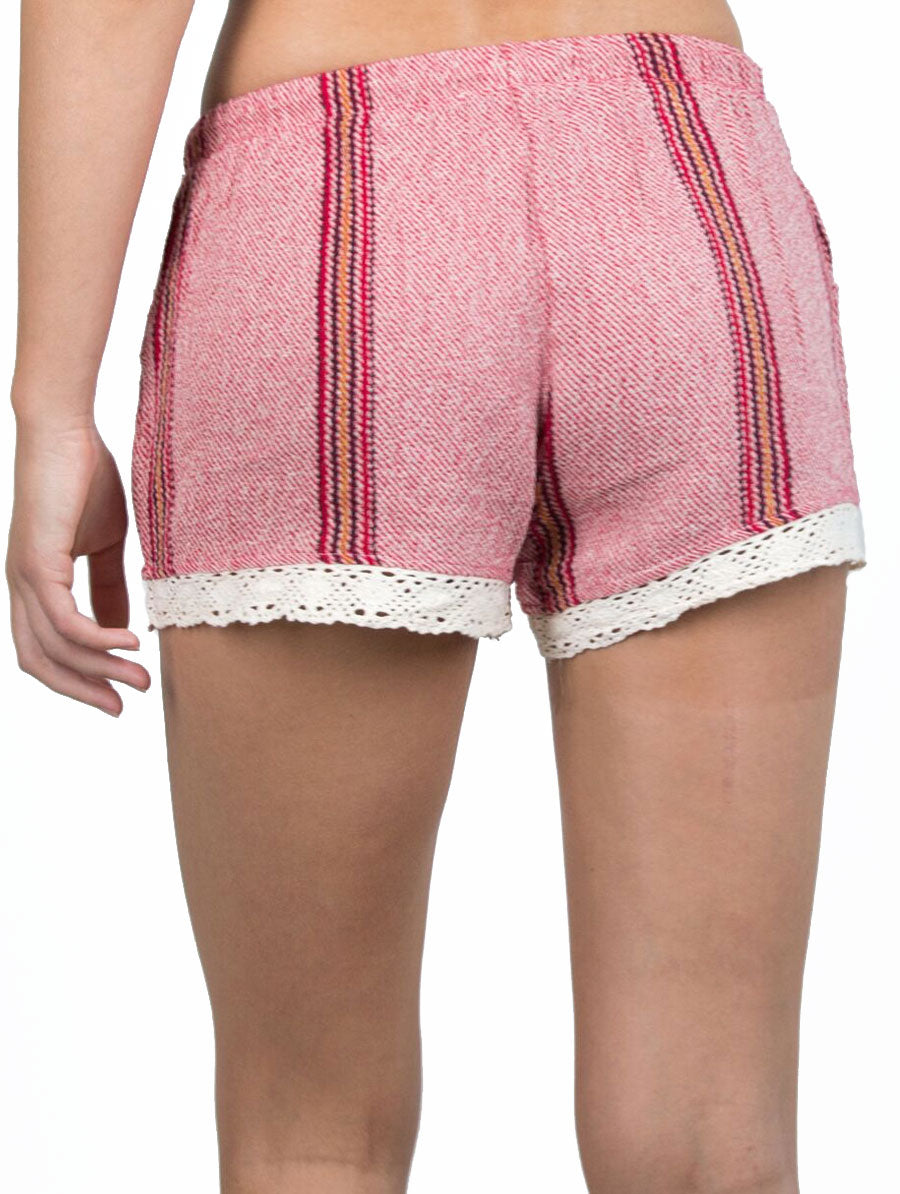 women's red striped crochet shorts