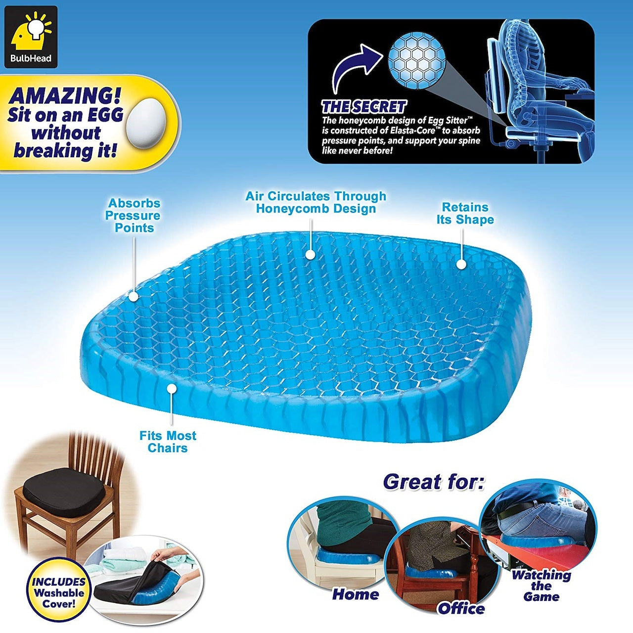 Egg Sitter Seat Cushion with Non-Slip Cover Breathable Honeycomb Design Absorbs Pressure Points