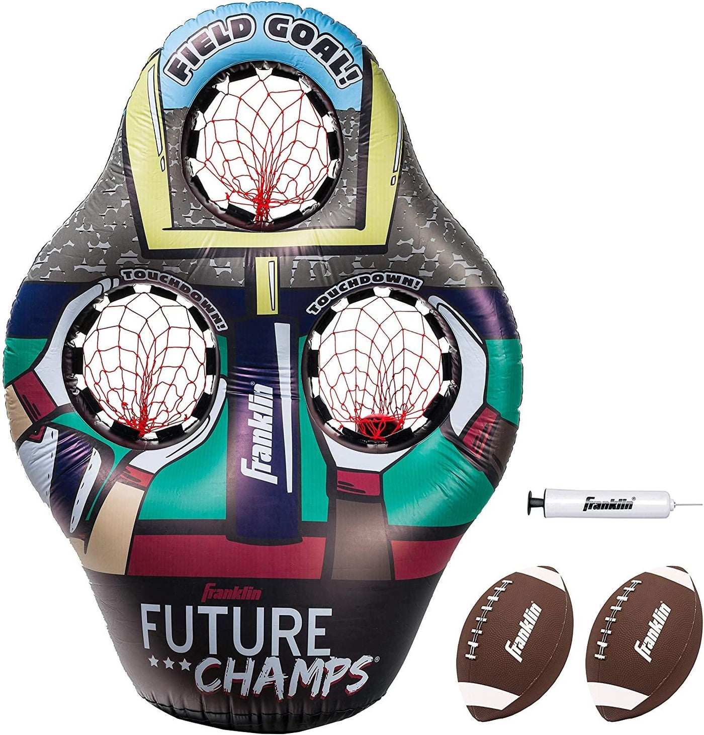 Football Target Toss Game - Inflatable Football Throwing Target with Footballs