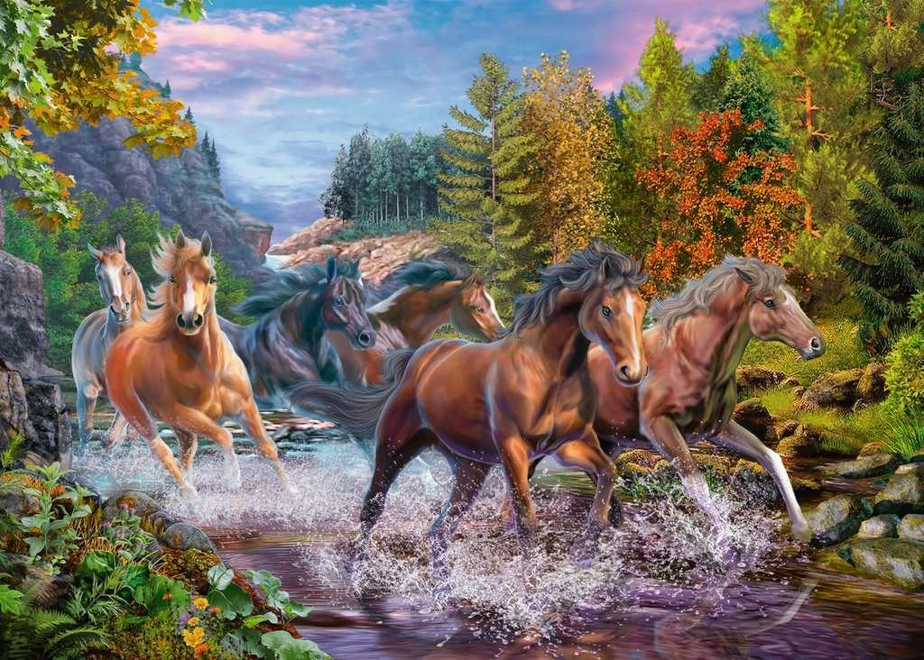 Rushing River Horses 100pc Puzzle