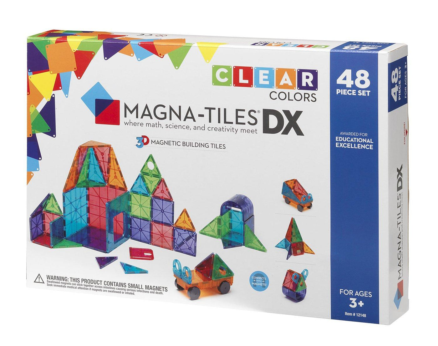 Magna-Tiles Clear Colors 48pc Deluxe (DX)
