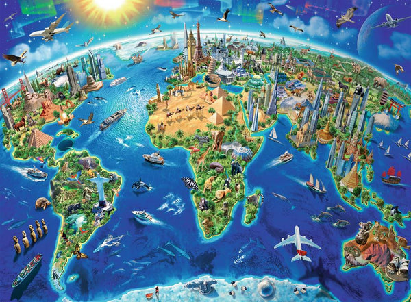 World Landmarks Map 300pc Puzzle