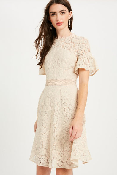 Bella Lace Dress in Champagne