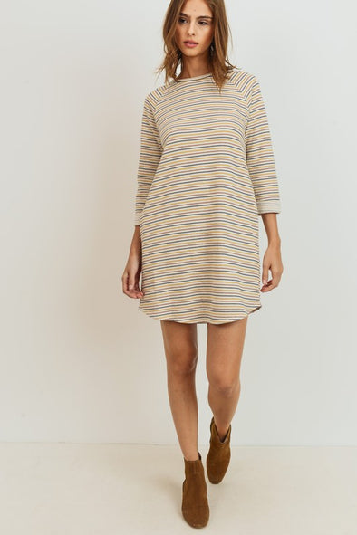 Ava Striped Terry Raglan Dress- Multi