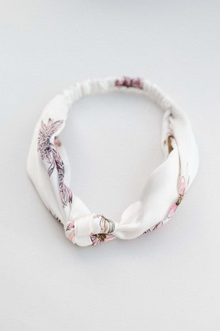 White Floral Satin Headband