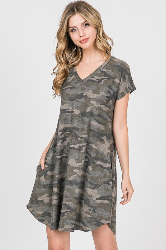 You're The One Olive Camo Dress