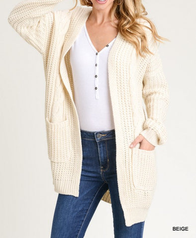 Cozy Up Chunky Knit Cardigan in Ivory - BLUE ORCHID
