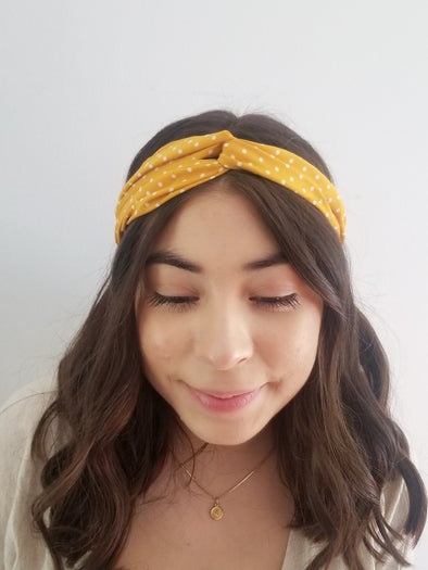 Yellow Polk A Dot Headband