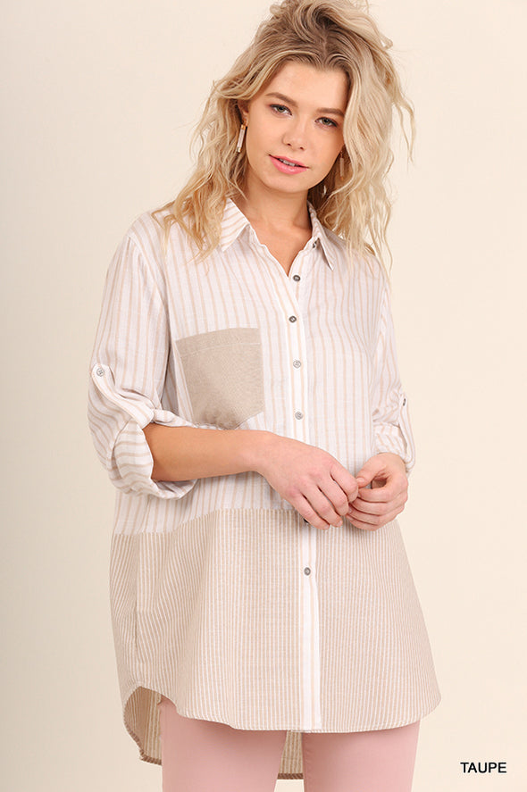 Two Tone Stripe Button Up- Final Sale