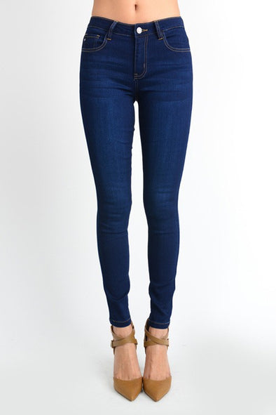 KanCan Mid Rise Super Skinny Jeans - BLUE ORCHID