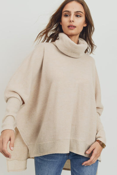 Love At First Sight Cowl Neck Sweater- Oatmeal