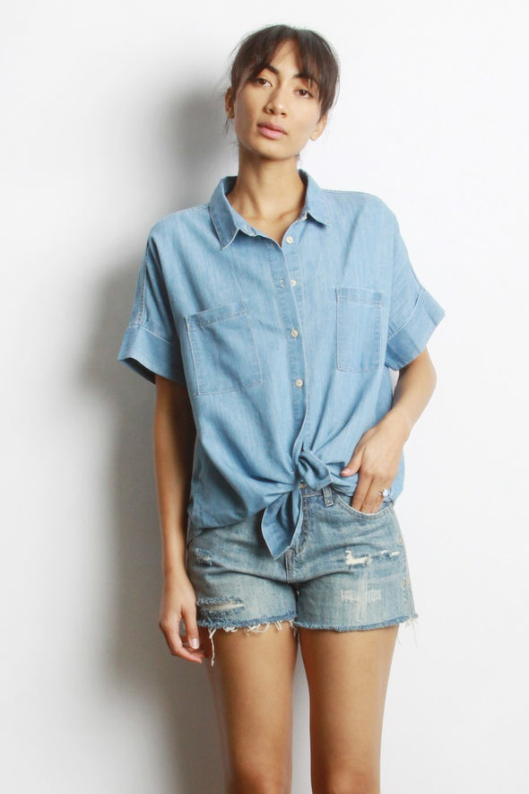 Oversized Chambray Top-FINAL SALE