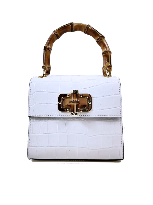 H+H Gaia Top Handle Mini Bag - White