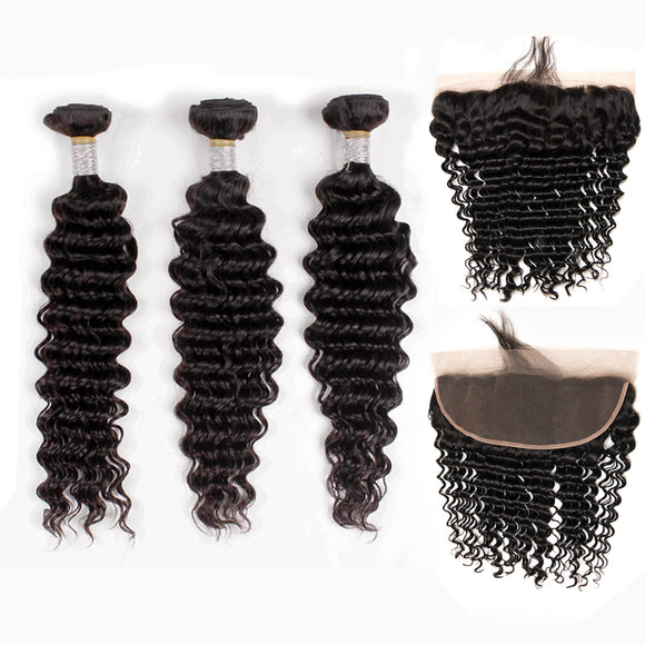 Jesvia Hair Brazilian Deep Wave Hair 3 Bundles With 4x13 Lace Frontal