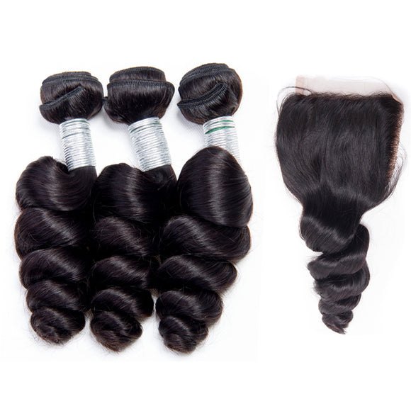 Jesvia Hair Brazilian Hair Loose Wave 3 Bundles With 1 Lace Closure
